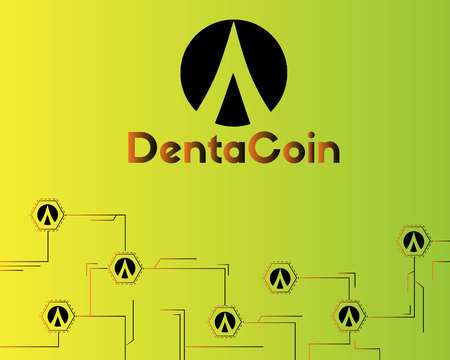 Dentacoin blockchain circuit network style background vector illustration