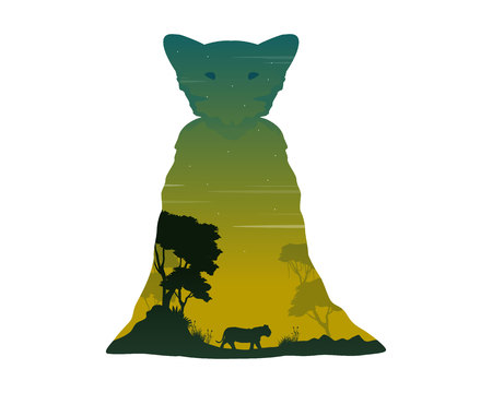 Silhouette of lioness on the hill landscape vector illustration
