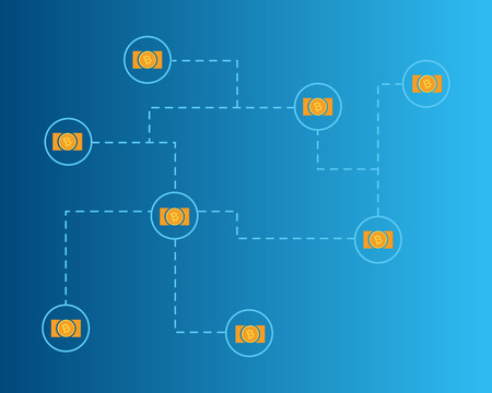Blockchain bitcoin cash network concept background collection