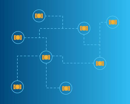 Blockchain bitcoin cash network concept background collection Stockfoto - 96901435