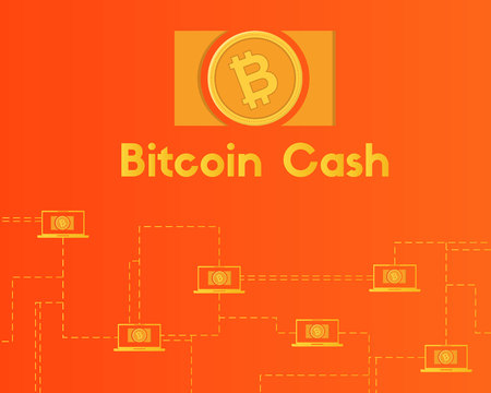 Blockchain bitcoin cash network technology background collection