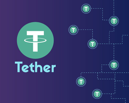 Tether cryptocurrency networking background style