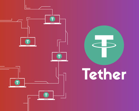 Tether cryptocurrency connected background style