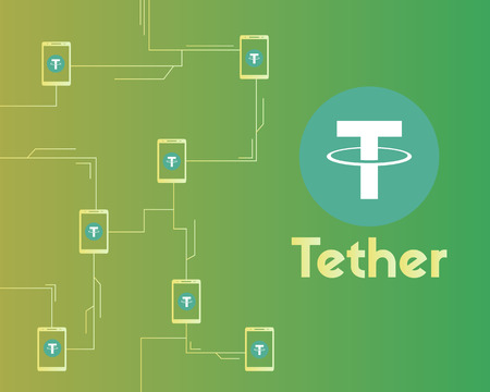 Tether cryptocurrency network concept background style 向量圖像