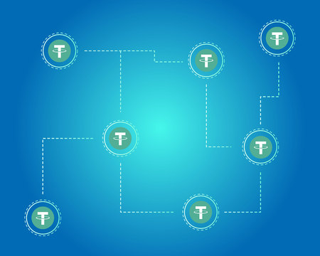 Tether cryptocurrency blockchain background style
