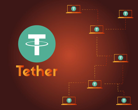 Tether cryptocurrency on dark background style Illustration