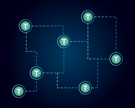 Tether cryptocurrency technology background style
