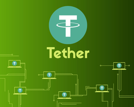 Tether cryptocurrency circuit concept background style
