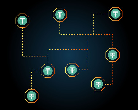 Tether cryptocurrency network background style Illustration
