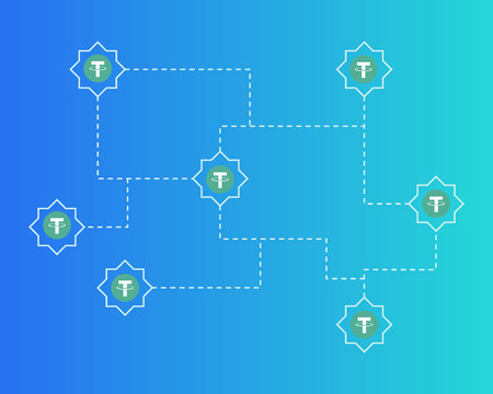 Tether cryptocurrency digital payment background style Illustration