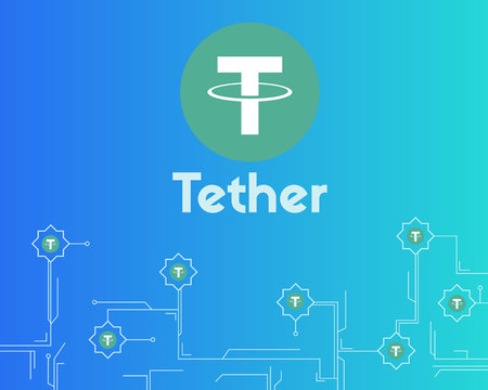 Tether cryptocurrency digital payment background style 向量圖像