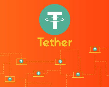 Tether cryptocurrency connect technology background style