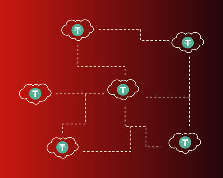 Tether cryptocurrency cloud on red background style