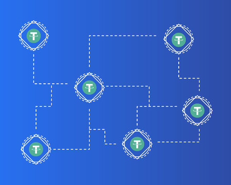 Tether cryptocurrency on blue background style 向量圖像