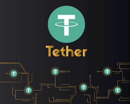 Tether cryptocurrency virtual on dark background style