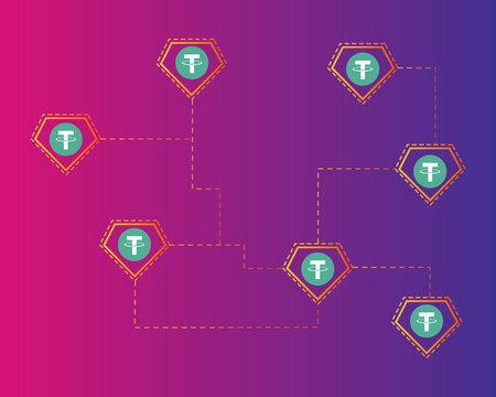 Tether cryptocurrency colorful background style