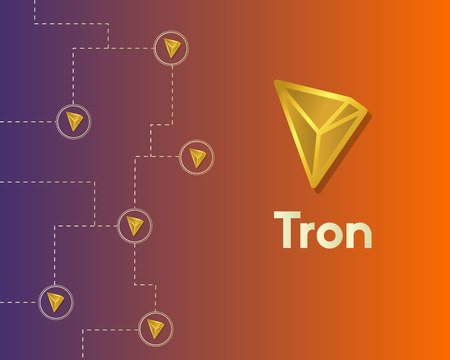 Cryptocurrency tron blockchain technology world background