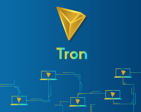 Cryptocurrency tron blockchain on blue background