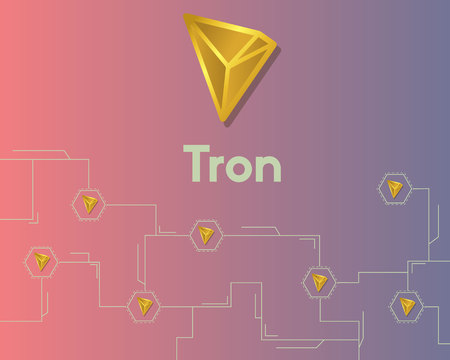 Cryptocurrency tron blockchain circuit network background