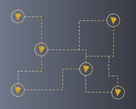 Cryptocurrency tron blockchain connect network background Ilustração