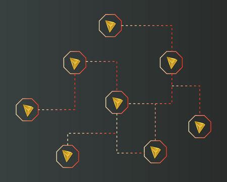 Cryptocurrency tron blockchain on dark background