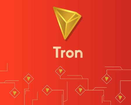 Cryptocurrency tron blockchain circuit technology background Stock Illustratie