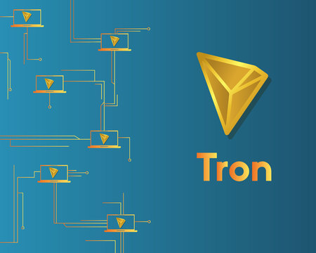 Cryptocurrency tron blockchain circuit concept background