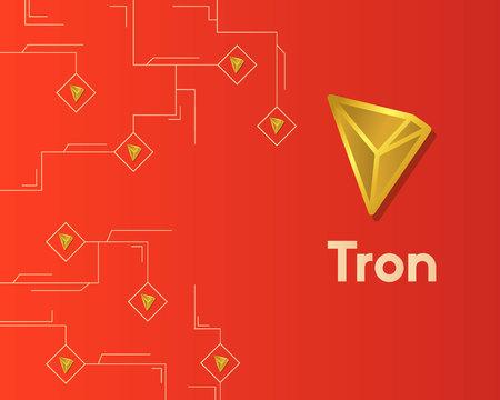 Cryptocurrency tron blockchain circuit technology background Ilustração