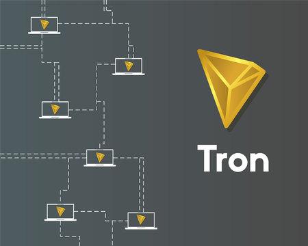 Cryptocurrency tron blockchain virtual digital background