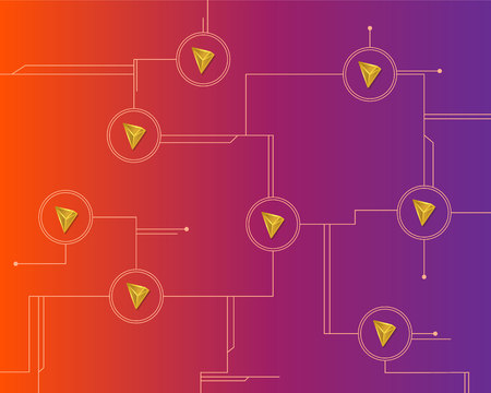 Cryptocurrency tron blockchain circuit background Ilustração