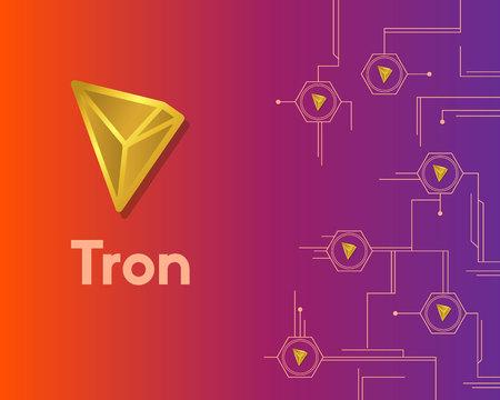 Cryptocurrency tron blockchain circuit background Stock Illustratie
