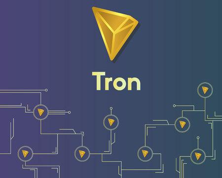 Cryptocurrency tron blockchain circuit networking background Ilustração