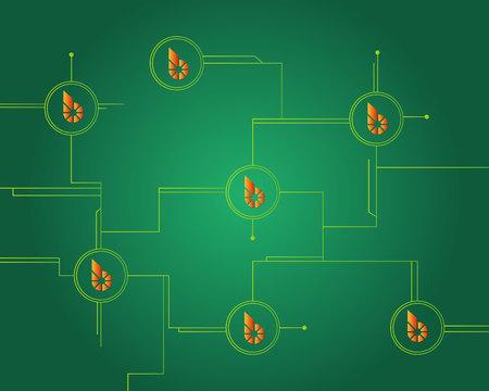 BitShares cryptocurrency blockchain circuit style background Stock Illustratie