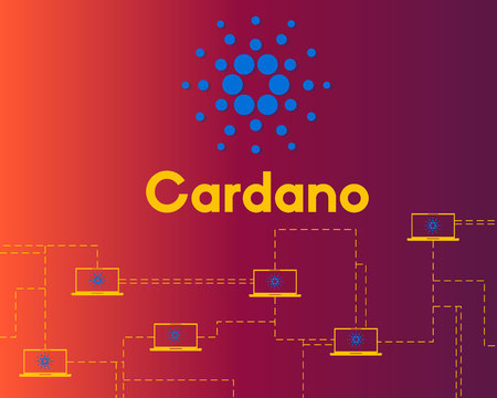 Blockchain cardano connected style background vector illustration