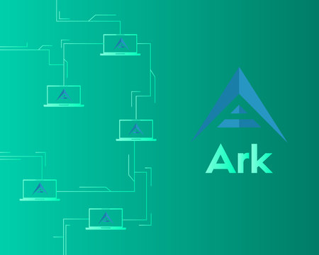 Background of ark cryptocurrency technology vector illustration