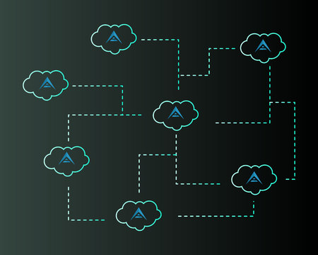 Background of ark cryptocurrency with cloud vector illustration