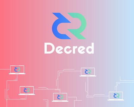 Blockchain decred symbol technology background