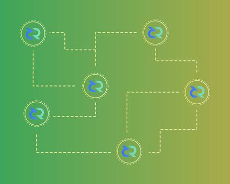 Blockchain decred symbol networking background Ilustracja