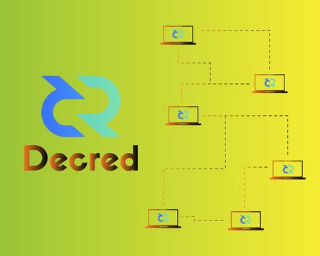 Blockchain decred symbol virtual payment background Stock Illustratie