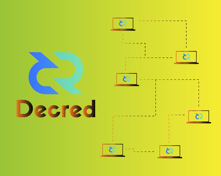 Blockchain decred symbol virtual payment background Illustration