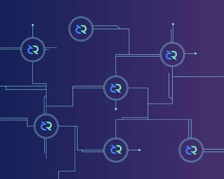 Blockchain decred symbol on dark background Ilustracja
