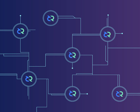 Blockchain decred symbol on dark background Illustration
