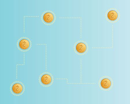 Cryptocurrency zcash style networking background vector illustration