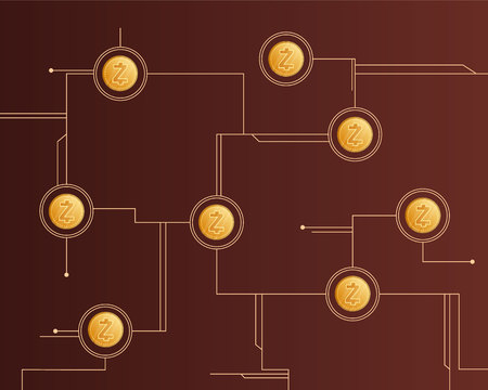 Cryptocurrency zcash circuit theme style background vector illustration
