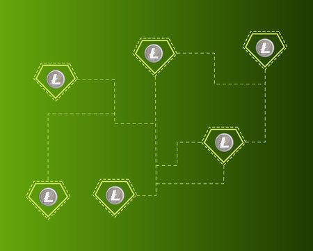 Blockchain litecoin technology virtual payment background