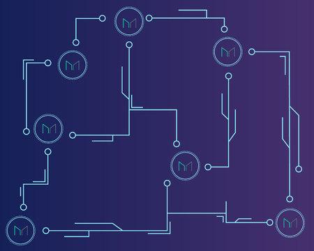 Maker cryptocurrency technology networking background Ilustracja