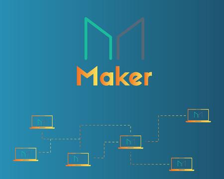 Maker cryptocurrency blockchain technology background Ilustracja