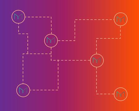 Maker cryptocurrency technology network background Ilustracja