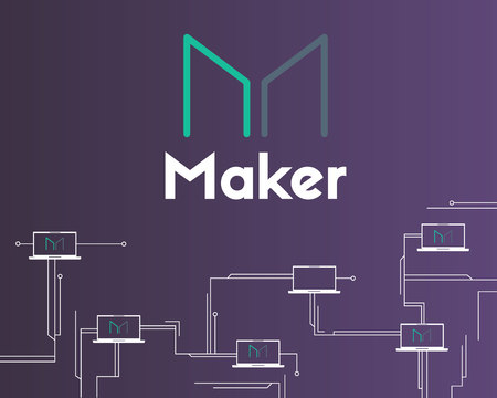 Maker cryptocurrency technology circuit theme background
