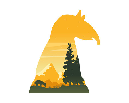 Silhouette of tapir on the hill at sunset landscape Illustration